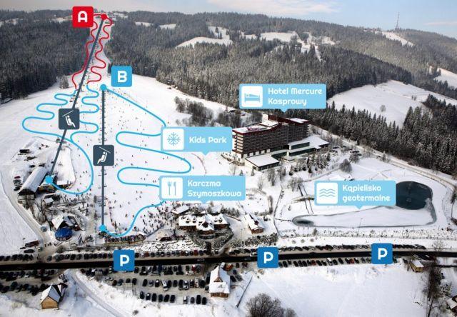 Mapa tras narciarskich naPolanie Szymoszkowej